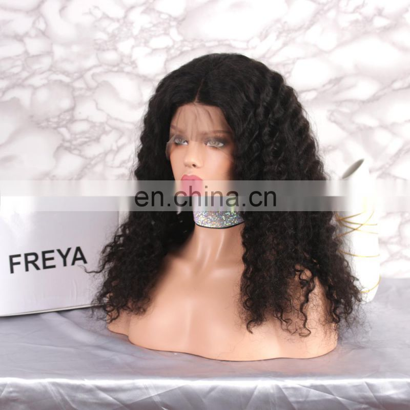Natural looking Alibaba hot selling style full lace kinky curly human hair wigs