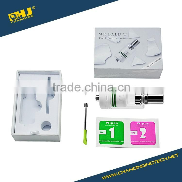 Latest Mr Bald T dry herb and wax vaporizer with first touch point heating chamber 3 colors for choosen