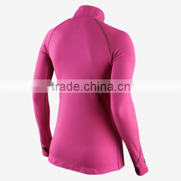 Women Half-Zip fitness tights Women's Running Tops ladies stretch blank sports t-shirt