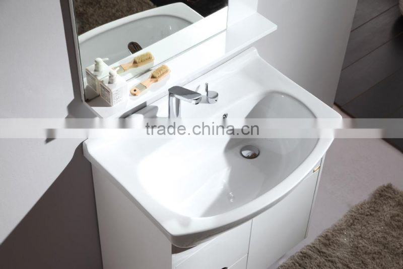 white modern floor stankding single sink bathroom vanity cabinet combo with mirror and top