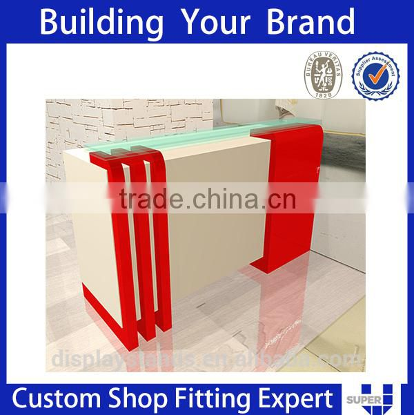 Modern Retail Showroom Wood Front Designs Shop Counter For Cloth
