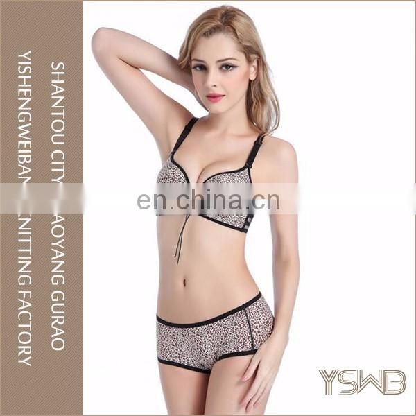 Breathable comfortable cotton gray leopard print women bra set