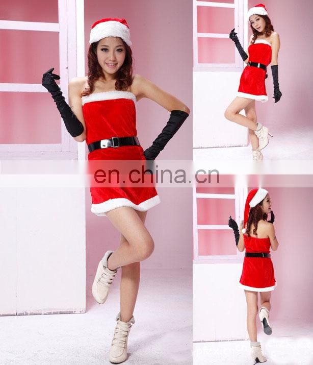 elegant Red Sexy christmas costume lingerie;Grils Sexy halloween Costumes;Female christmas party dress
