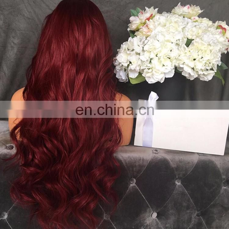 Virgin Red 180% Density Full Lace Wig Free Part Loose Body Wave Bug Color Remy Indian Human Hair Wig With Baby Hair
