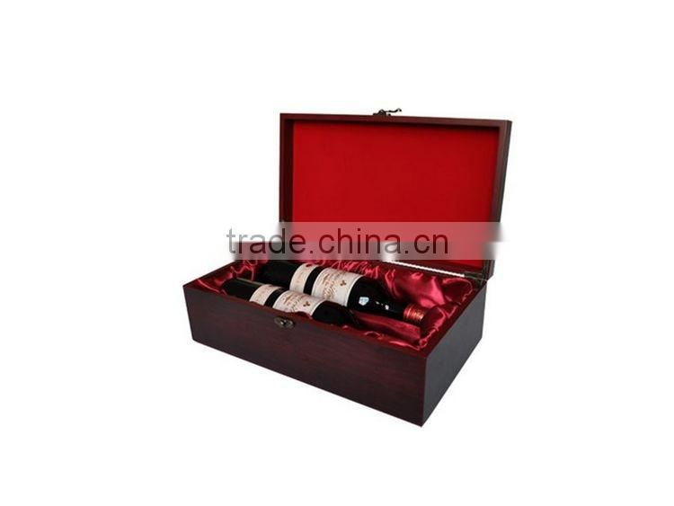 Solid Wood Box Wooden Painted,Custom High Quality Luxury Black Shiny Lacquered MDF Wooden Wine Box With Logo Printing For 1 or 2