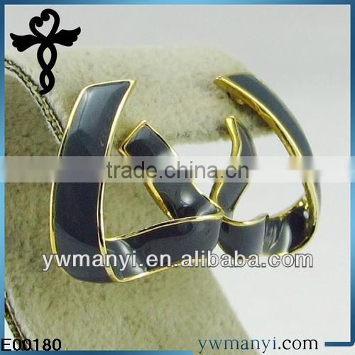 2014 new fashion ladies stud designs k gold triangle color enamel custom earrings in zinc alloy jewelry E00180