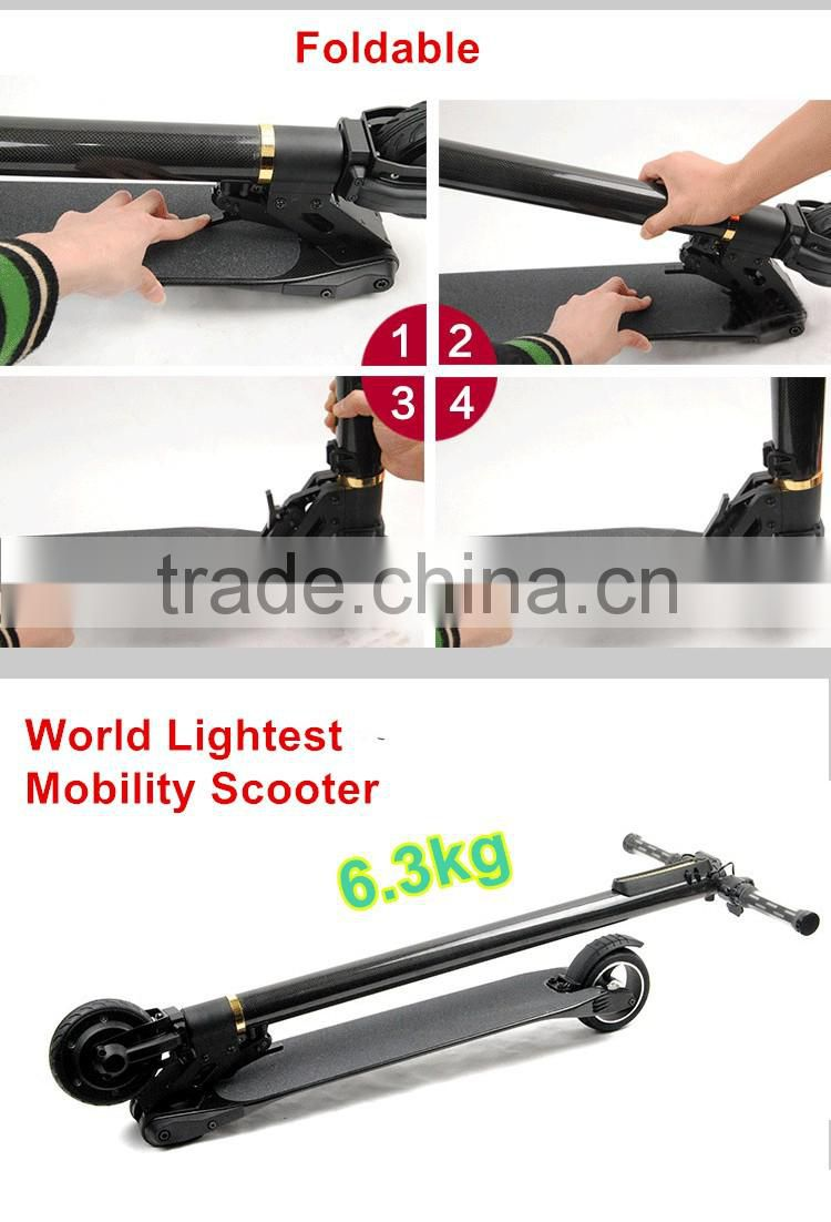 Jack Hot 2016 Hot Carbon Fiber Electric Scooter The lightest Mobility Scooter Only 6.9KG with 8.8AH LG Battery
