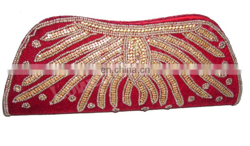 ZIRCON & DABCA WORK RED CLUTCH PURSE