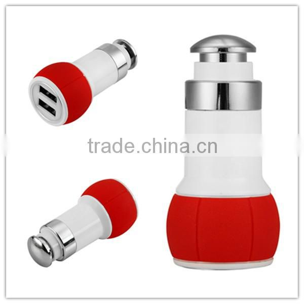 2-port Dual USB Metal Car Charger Pure copper series Car Charger with Window Glass Breaking Tap Hammer for Cellphone A001