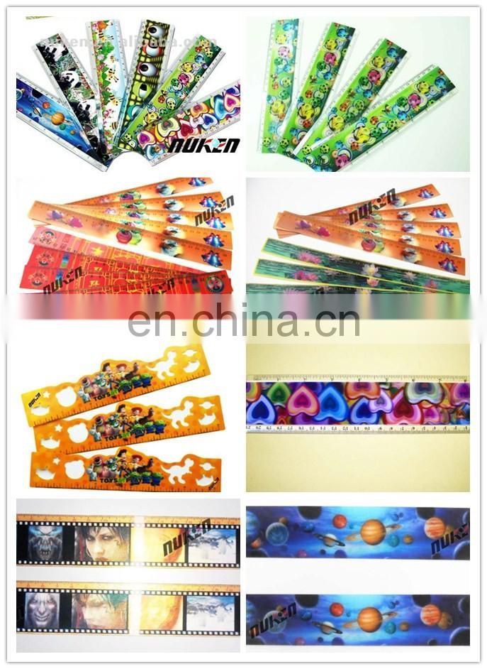 Fashion Oem Accept Hot Selling 3d lenticular PET/PP/PVC measuring school ruler