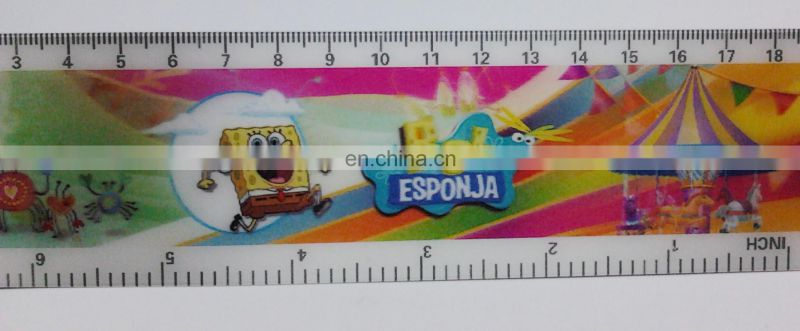 UV printed lenticular effect color change ruler