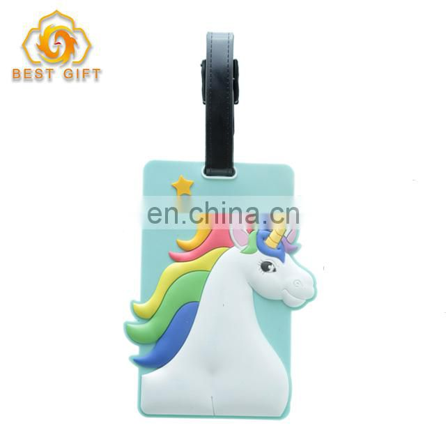 Custom Cheap Soft Carton Theme PVC Luggage Tags For Gifts