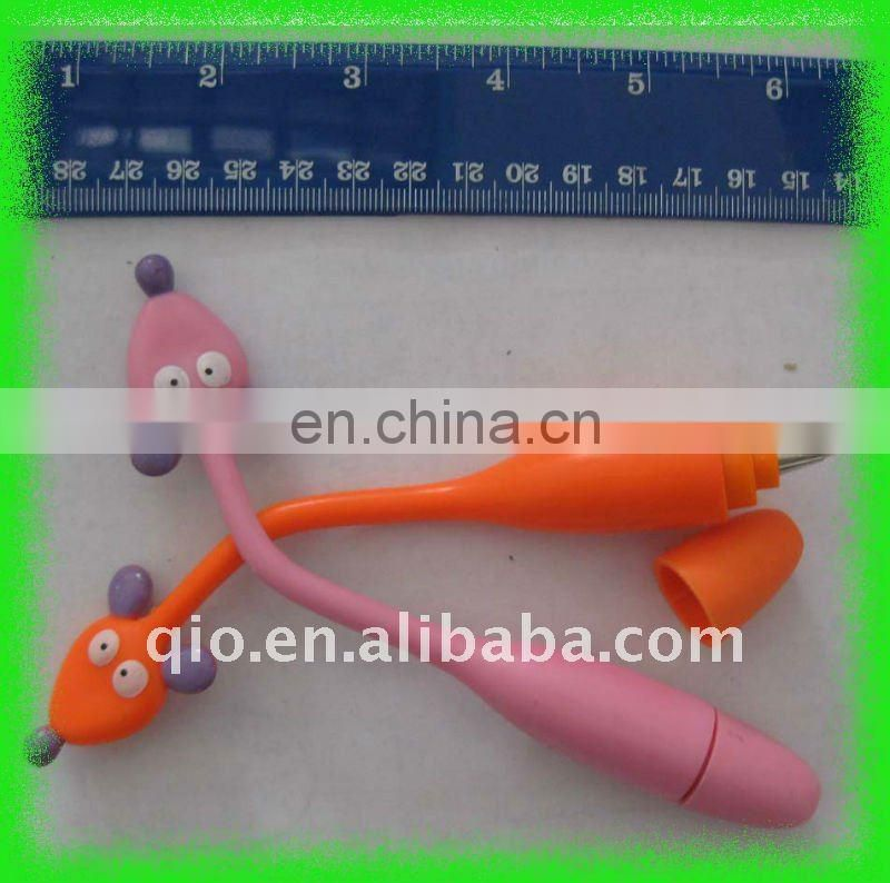 novelty advertising animal shaped bent flexible ballpoint ball pen
