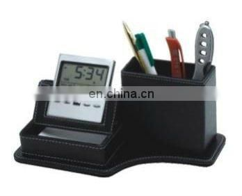 Leather Desk Calendar Pen Holder