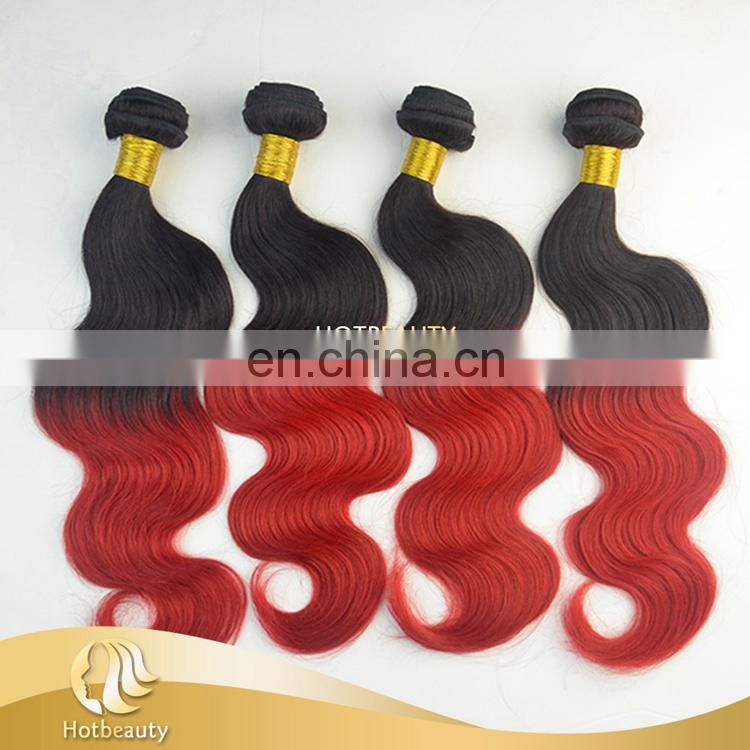 10-32 inch wholesale Red Peruvian Body Wave 100% real ombre bundles 100% remy human hair extension