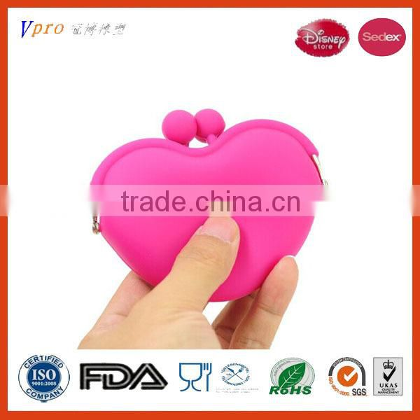 FDA LFGB Audit Fcatory Lovely Silicone Coin Money Wallet Purse Pouch with Sweet Heart Shape