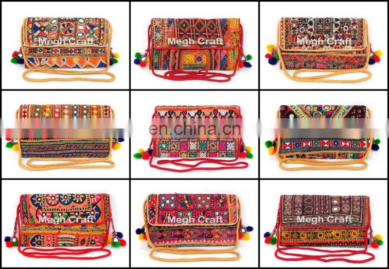 Gypsy Mirror Work Theli Bag- Gujarati Handmade Theli Bag- Gujarati Embroidry Theli Bag