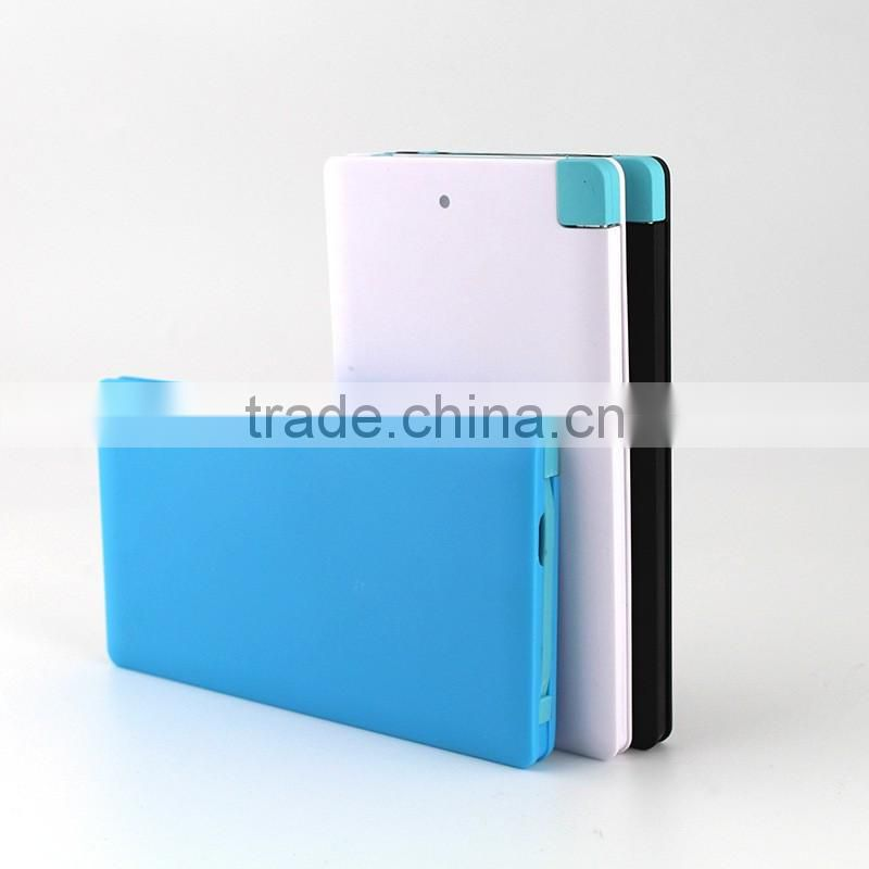 New arrival hot sale super slim power bank 4000mah with built in charger for all mobile phones