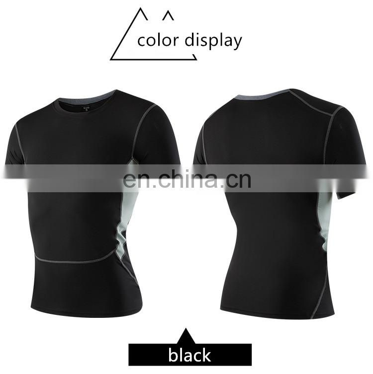 Gym men's tight running fitness elastic sweat wear quick-drying clothes T-shirt