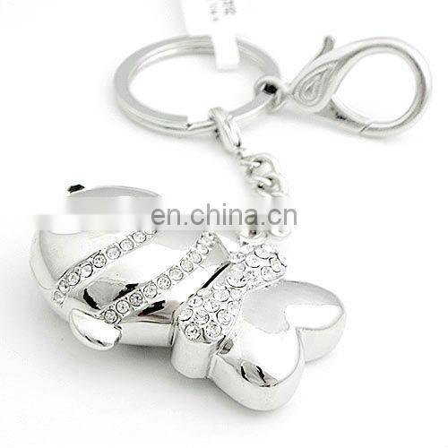 The point of full of diamond silver gold usb key ring