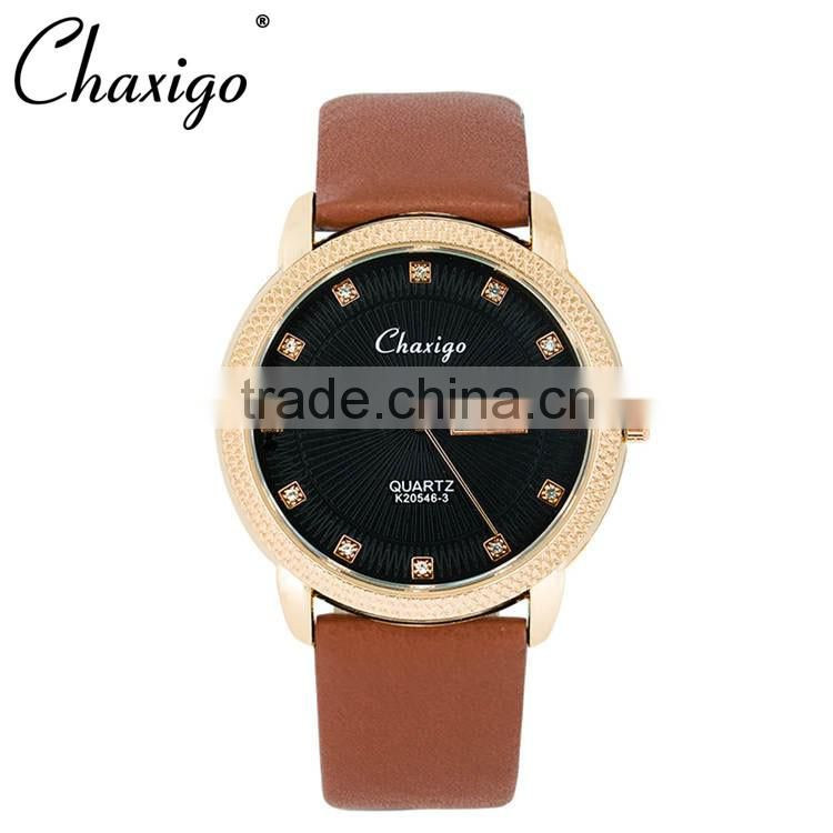 2016 luxury quality custom rose gold case leather watch men women couple watches with stone