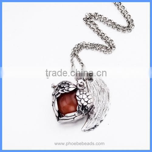Heart Shape Angel Wing Metal Cage Chime Box Musical Sound Ball Pendant Pregnancy Necklaces For Women BAC-M049