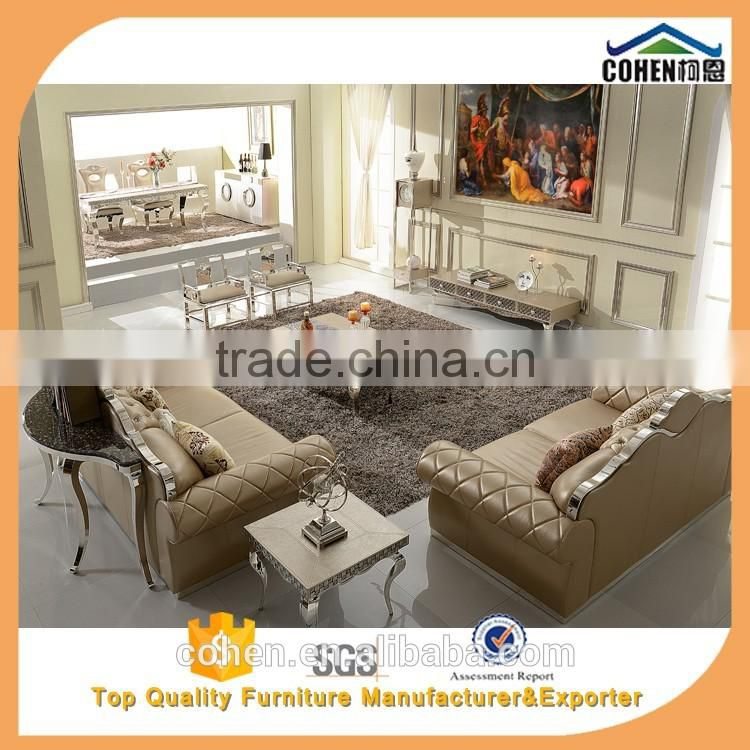SF017 master king size cow leather sofa with stainless steel legs