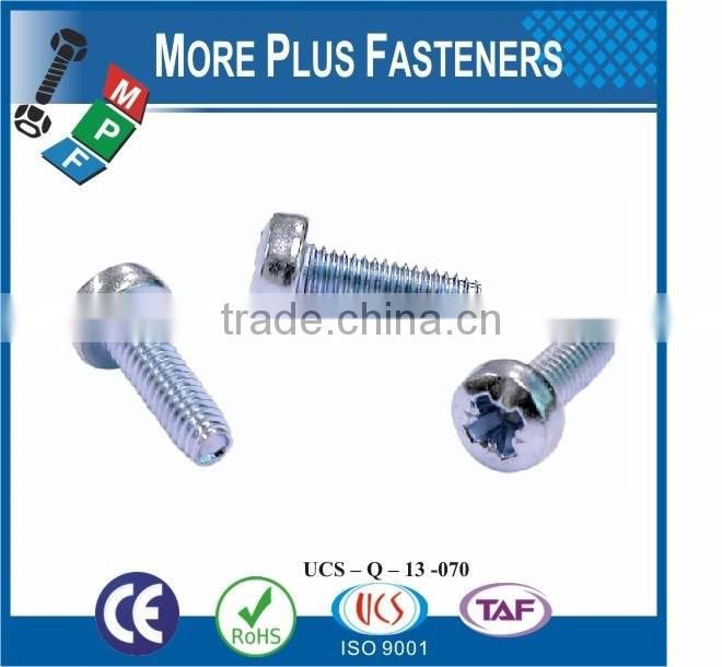 Made in Taiwan Material Carbon Steel Sliver Color Plus Tech Trilobular Type TT Thread Rolling Tapping Screws