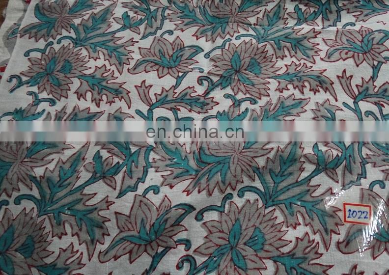 Indian Hand Block Print Fabric Handmade Printed Cotton Fabric