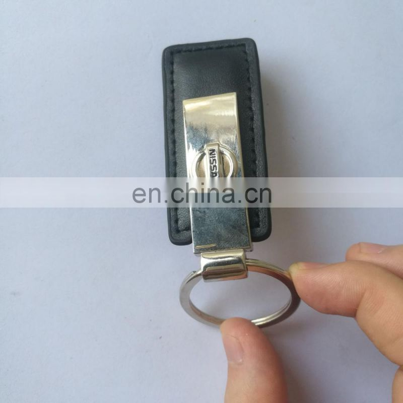 custom embossed leather keychain in black color