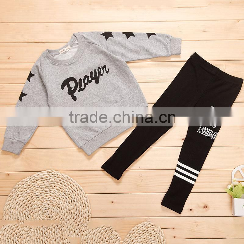2015 Wholesale New Arrival Children Autumn Clothing Set Korean Style Girls Casual Outfits Kids Two Piece Set(Top+pants)