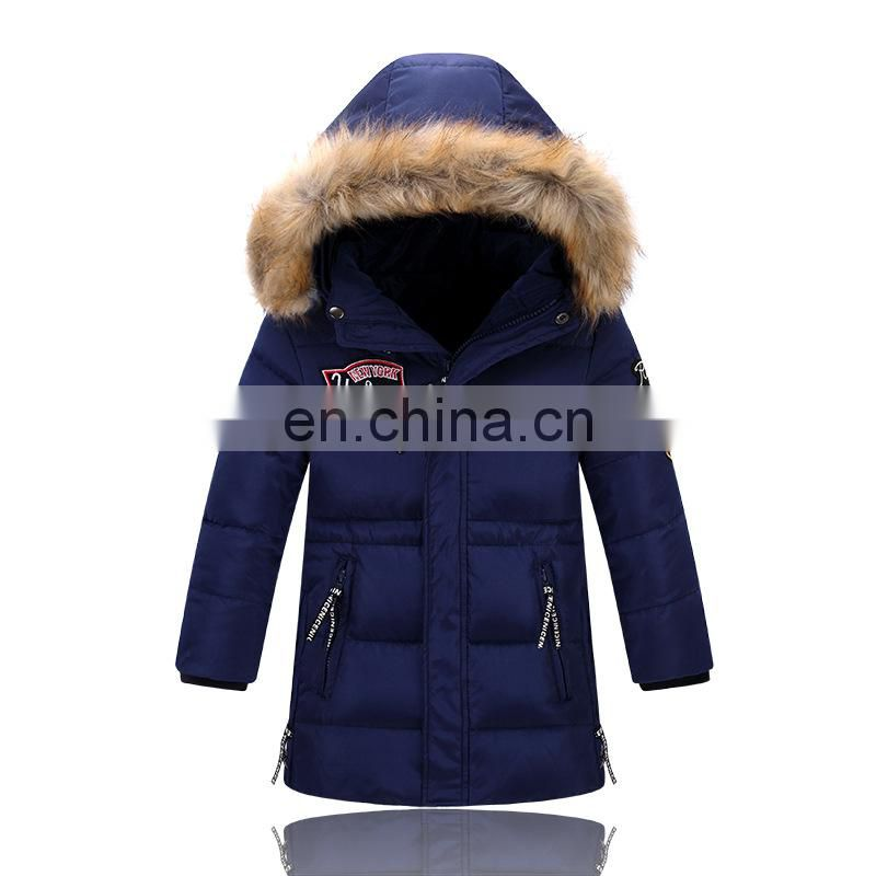 Children winter down jackets with raccoon fur collar kids down coats