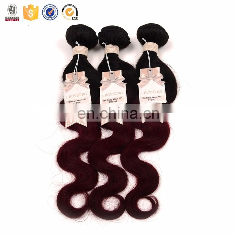 100% human hair extension wholesale online body wave ombre color 1B/99J remy hairextesion tangle free