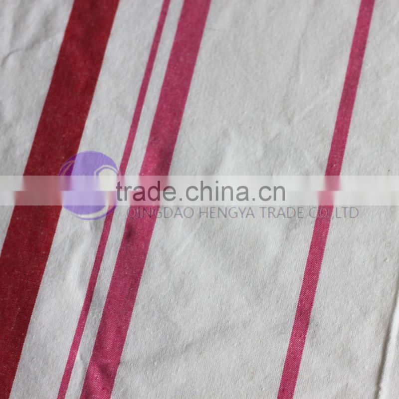 100% cotton plain white red stripe printed kitchen tea towel