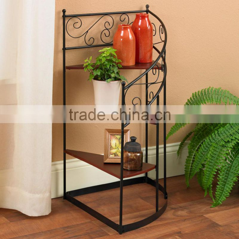 New Design 3 steps Metal Winding Staircase wrought iron plant stands