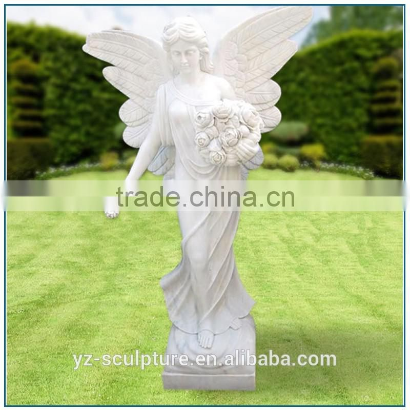 church religious life size standing girl angel hold flowers sculpture for home decoration