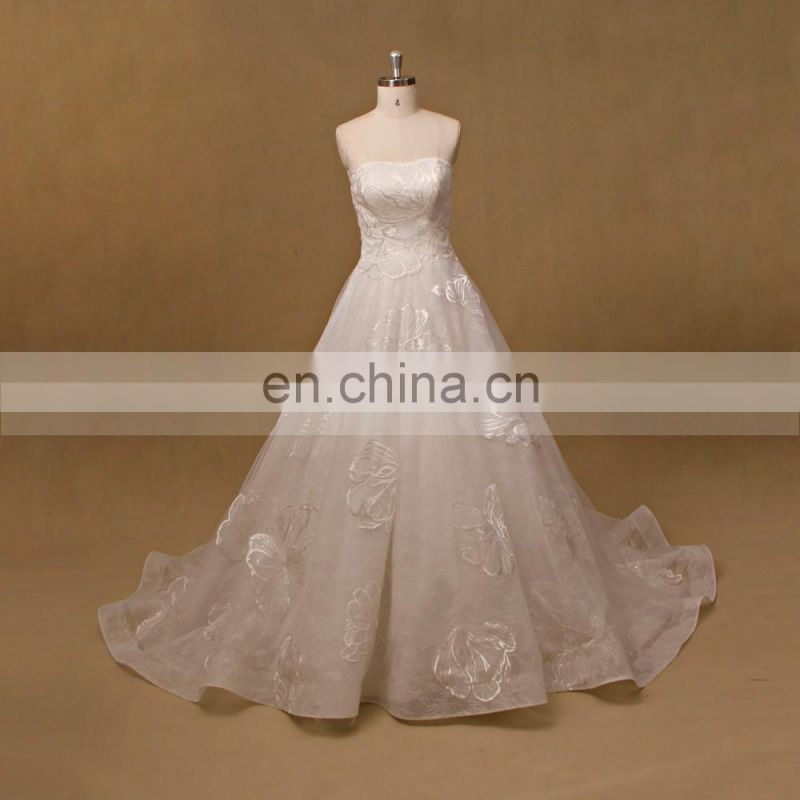 Strapless Lace Real pictures lady sleeveless wedding dress 2017