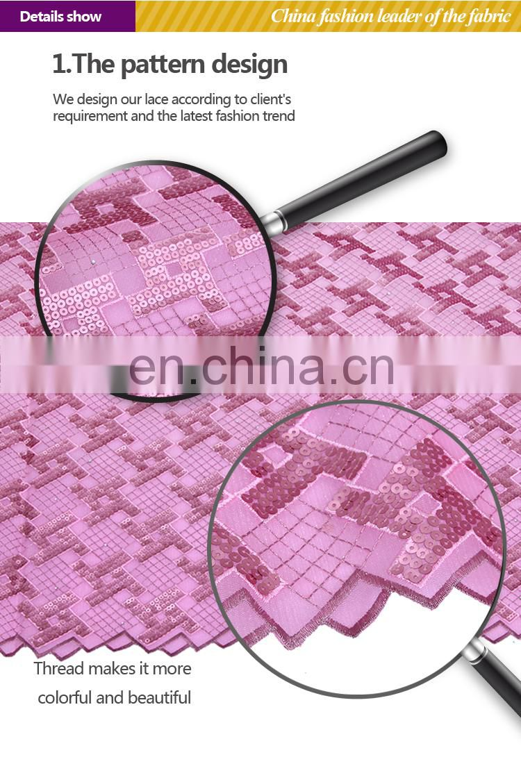 Pink organza embroidery lace fabric/african organza lace