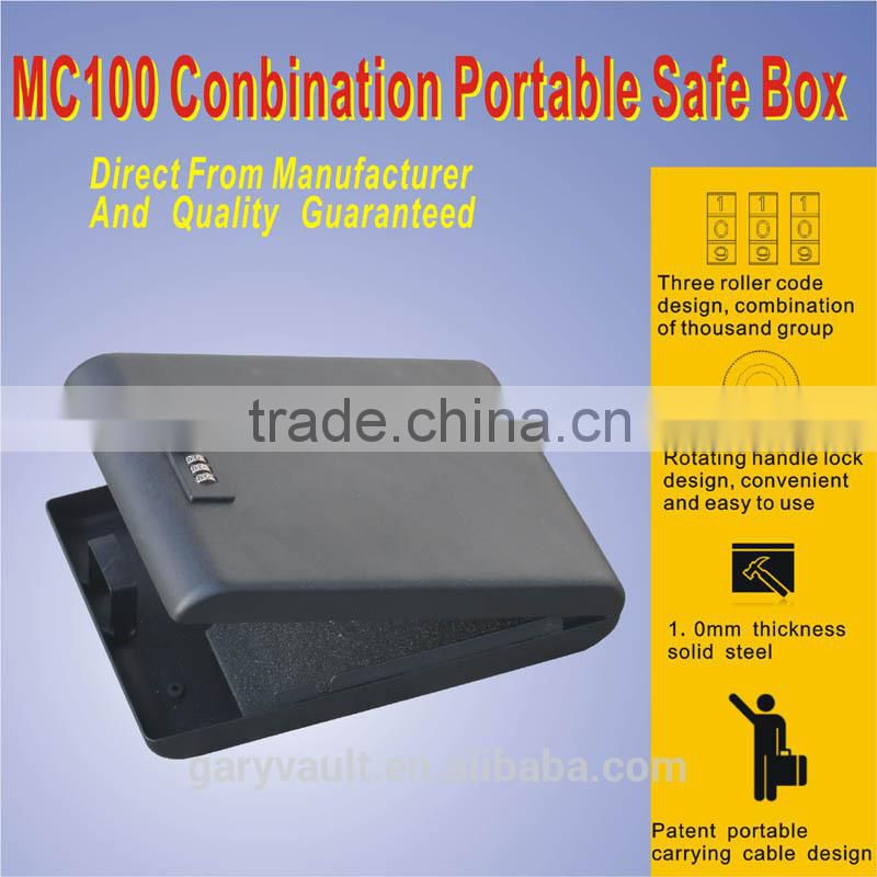 Wholesale - MC100 micro vault 3-Digit Combination Lock Mini Car hand gun portable security storage steel Safe Box/Gun Vault