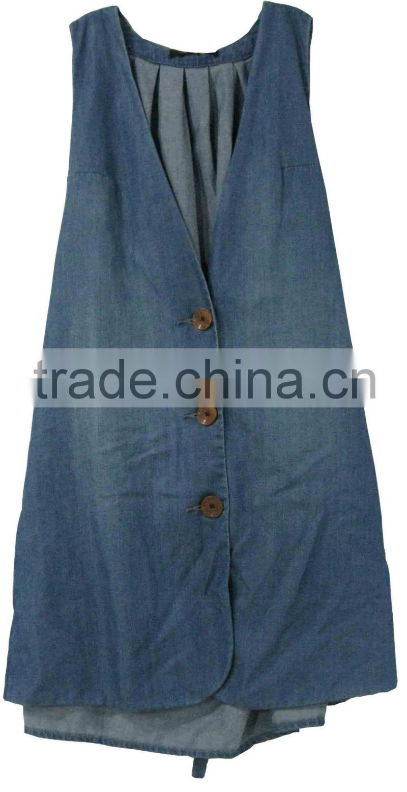 Adults fashion women sleeveless denim shirts ladies loose longer jeans vest jeans shirts manufacturer China