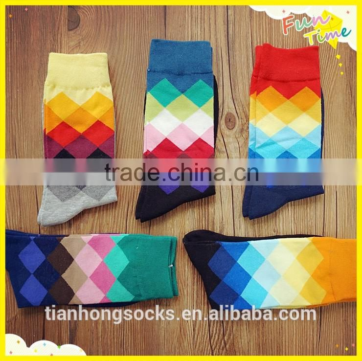 Argyle pattern colorful knitted men tube socks cotton socks happy socks wholesale