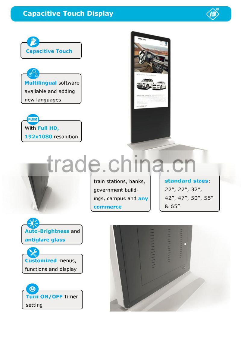 Wall mounted Full HD Capacitive Android touchscreen monitor