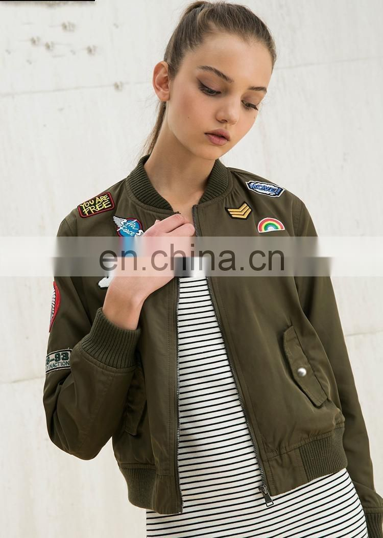 New design Women's Bomer Jacket Winter Jacket Baseball Jacket Nylon Jacket flight Jacket with Applique