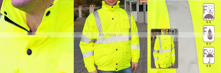 100% polyester safety reflective waterproof raincoat 3 in 1 jacket