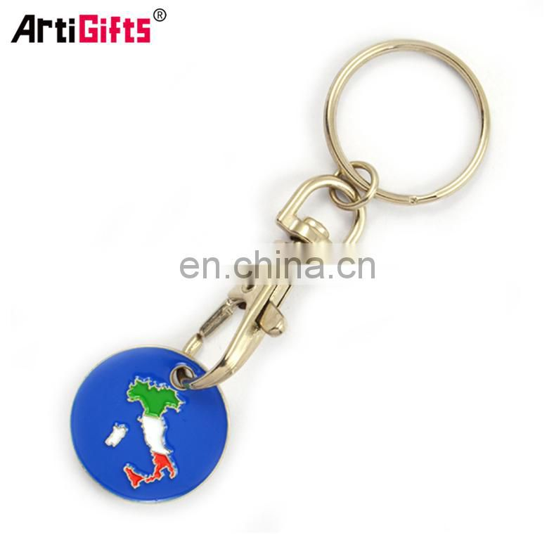 New promotional products shopping trolley pound coin token key ring