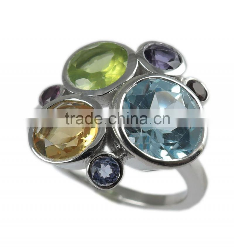 925 sterling silver multi-gemstone ring