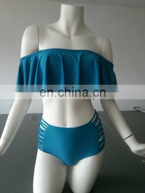 Hot selling girls Off Shoulder swimwear solid women Swimsuit High Waist Bikini