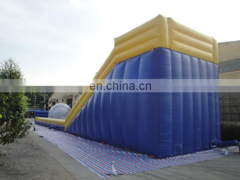 PVC material Yellow and blue long roller slope ,inflatable zorb ball race slope Ramp