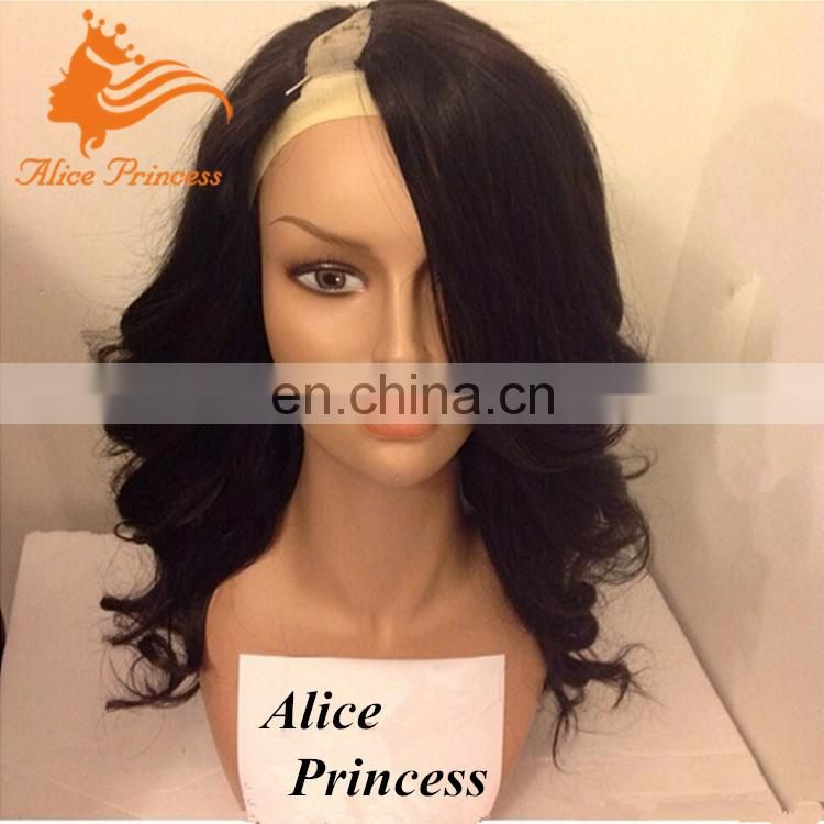 Wholesale Cheap Human Hair Wig Natural New Wave Side U part Virgin Human Hair Wigs For Black Women
