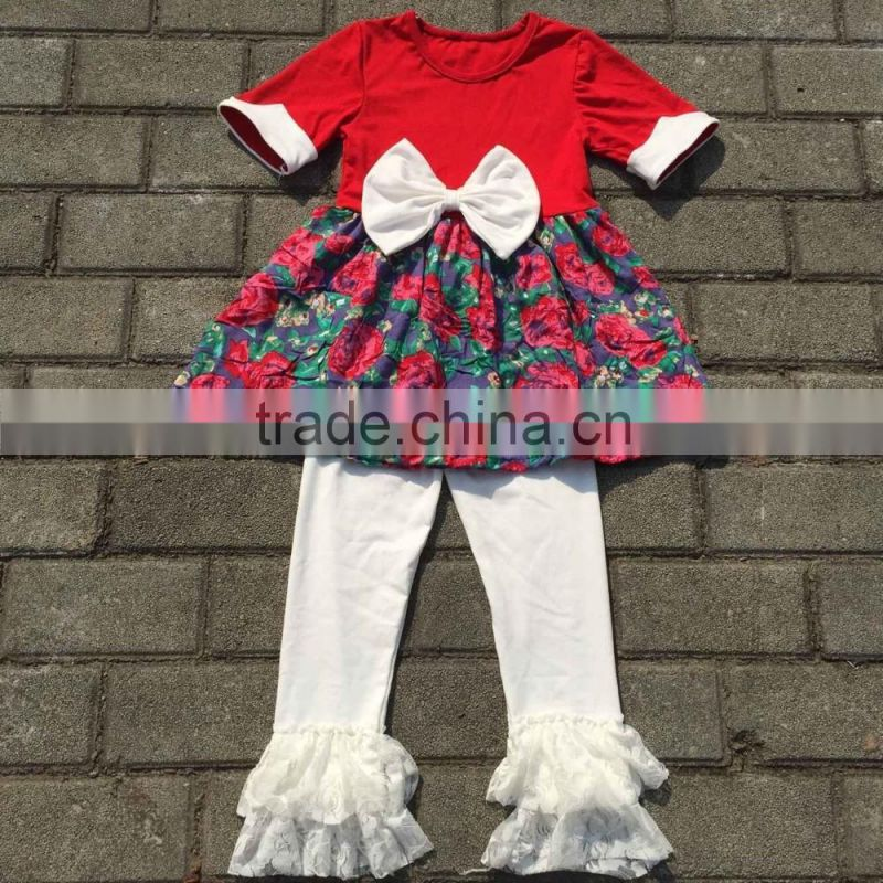 fall boutique girl clothing lace fabric floral dress long sleeve wholesale flower girl dresses sets